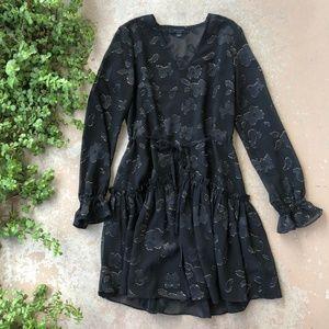 ALLSAINTS Black Metallic Leopard Print Mini Dress